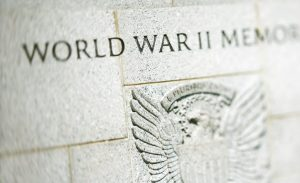 Eagle engraving on World War II Memorial, Washington, DC